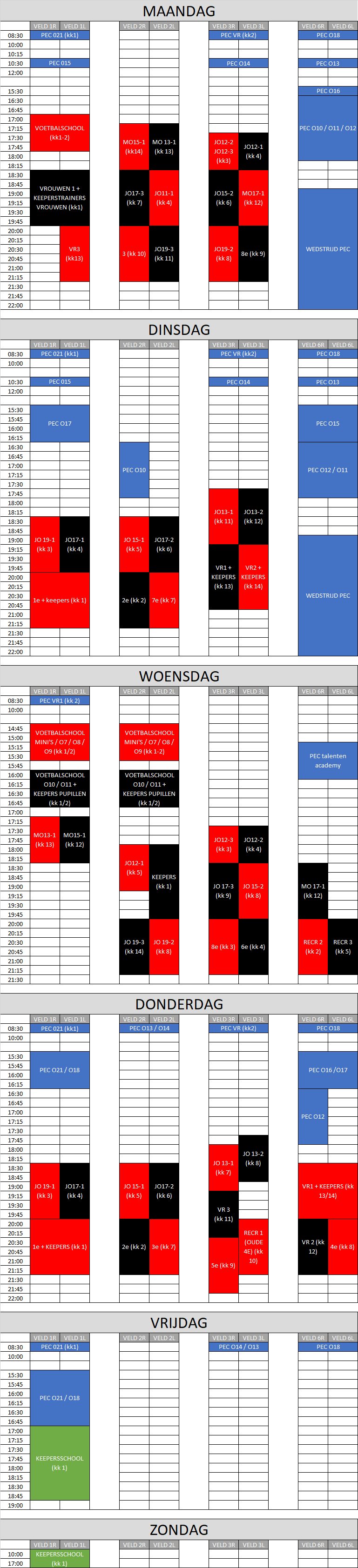 trainingsschema per 03-09-2021