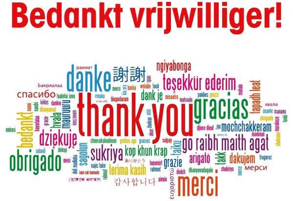 Bedankt vrijwilliger