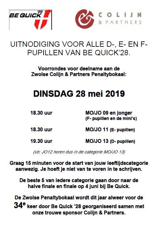 Voorrondes Colijn & Partners penaltybokaal