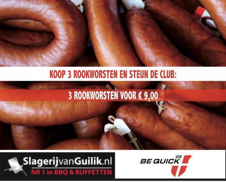 ROOKWORSTENAKTIE BE QUICK'28 | STEUN DE CLUB EN BESTEL!