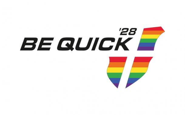 Logo Be Quick'28 in Regenboog vlag thema (LHBTI)